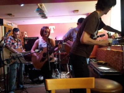 Stevie C mixing DD8 Bands in the Ogilvy Arms Pub Kirriemuir with Irish Coffee and LED floods. Photo by Liz Reid.