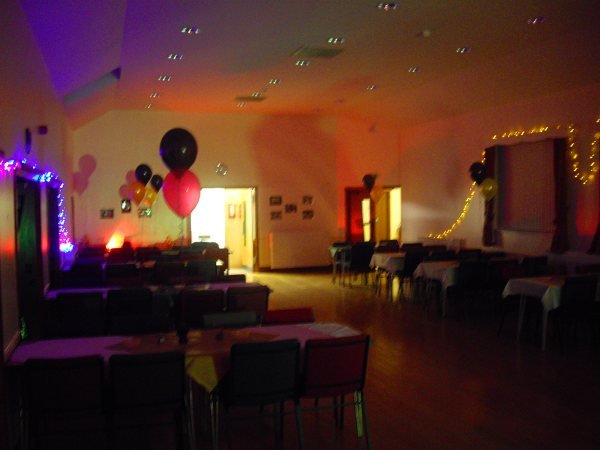 50th Birthday Party with Stevie C's LED flood up-lighters, Disco lighting and LED fairy strings