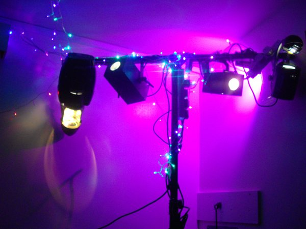 50th Birthday Party Punk Themed: Stevie C's LED flood uplighters, Disco lighting, scanners, LED fairy strings, stage lighting and Snug mood lighting