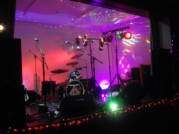 The Northmuir Hall in Kirrie stage/band lighting setup for Sonnet 65
