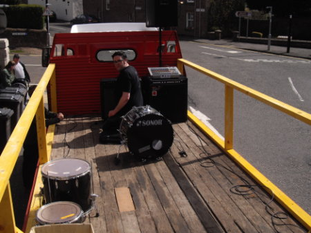 DD8 Music's Graham Galloway and Stevie C setting up the flatbed truck for the Bon Fest music video