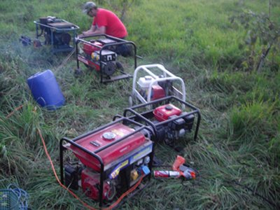 Stevie C and Graham tending the flock of Generators