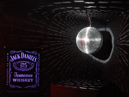Completed Balcony Bar DJ booth - UV lights & mirror ball installed
