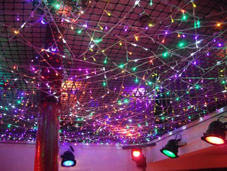 Balcony Bar Dundee: crazy LED cobwebs woven into mesh in ceiling