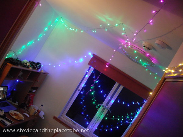 Stevie C checks into Bayhead Bridge Centre Stornoway and wastes no time in draping LED fairy lights around the dorm room