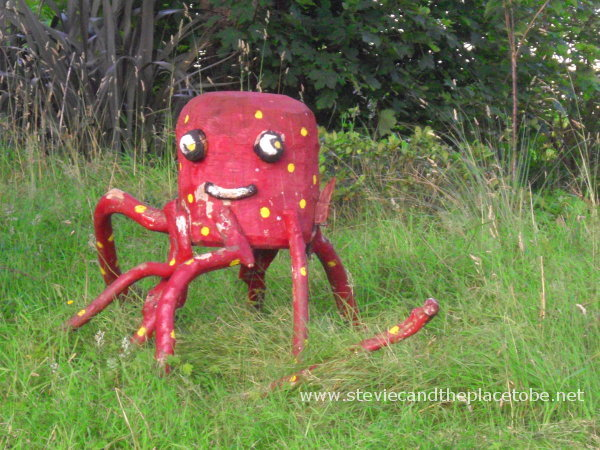 Spotty Dotty Red Octopus in his garden in the shade. He knows where I've been, but is missing a leg, in his Octopus's Garden, in Stornoway.