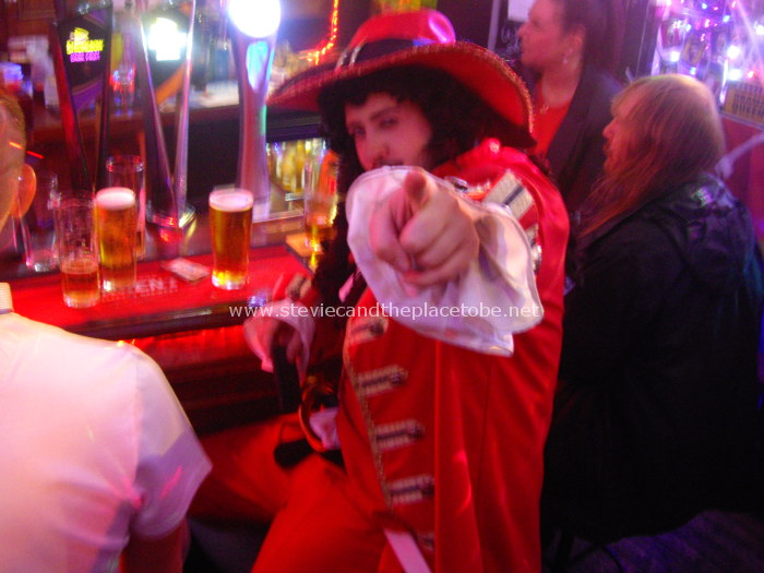 The McEwan's Cavalier Man, in the Salty Dog Dundee, drinking Tennent's Lager
