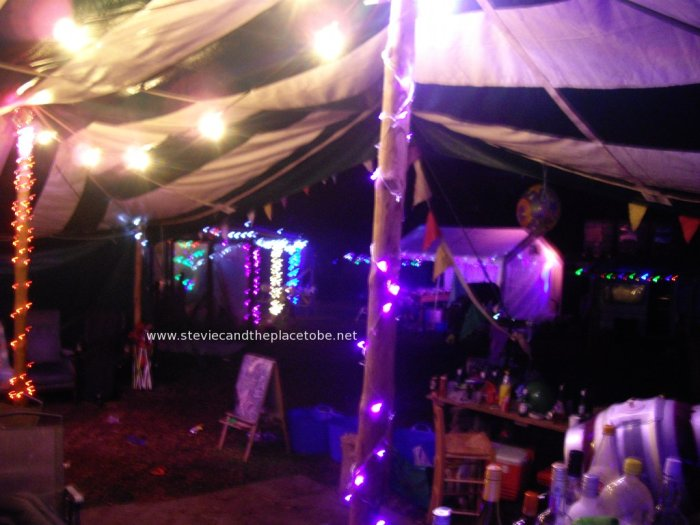 Stevie C's Disco, Festoon & Mood lighting at PITF 2014: clear festoons, EPISTAR RGB LED floodlights, colour LED fairy strings in chill out tent
