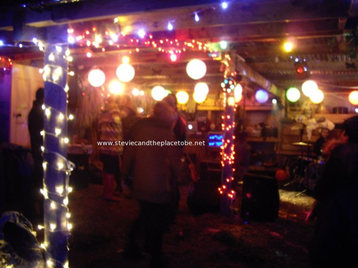 Stevie C's Disco, Festoon & Mood lighting at PITF 2014: festoons with paper lanterns and my hand-painted light bulbs, LED strands on posts