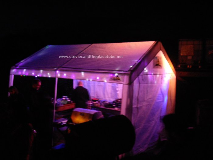 Stevie C's Disco, Festoon & Mood lighting at PITF 2014: food tent with blue & purple LED floodlighting