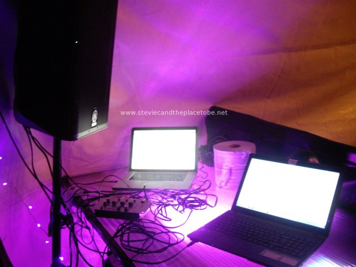 Stevie C's Disco, Festoon & Mood lighting at PITF 2014: EPISTAR LED RGB flood lights under perspex DJ bar