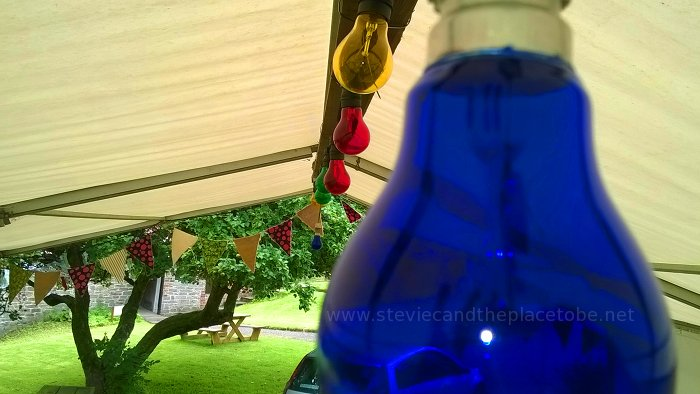 Music at Barry Mill. LED and Festoon Lights by Stevie C. Marquee Tent After.