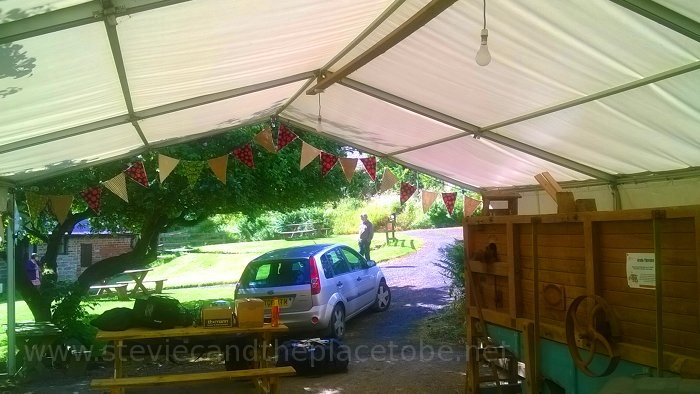 Music at Barry Mill. LED and Festoon Lights by Stevie C. Marquee Tent Before.