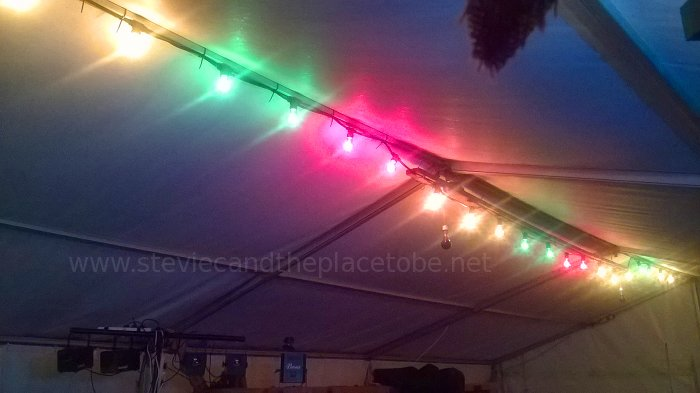 Music at Barry Mill. LED and Festoon Lights by Stevie C. Inside the Marquee Tent with my colourful bulbs.