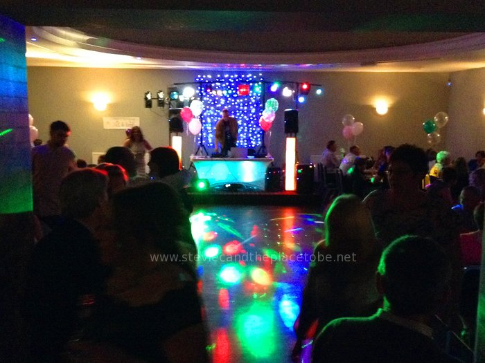 DJ Ross DJing and Stevie C providing (more) disco lights at Baxter's Function Suite Dundee
