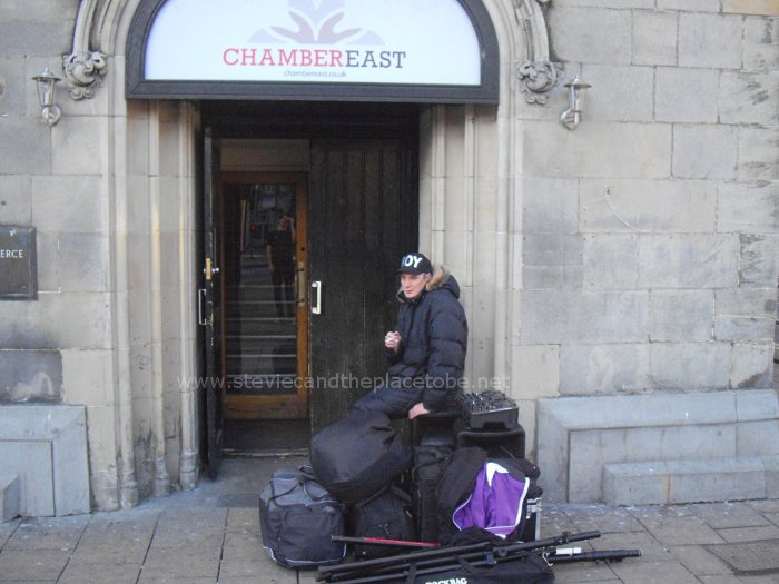 DJ Ross looking relieved after the de-rig and load-out from Chamber East, Dundee