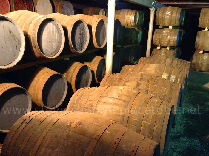 The Glen Ord Distillery, Muir of Ord. Whisky Barrels/Kegs inside a store room.