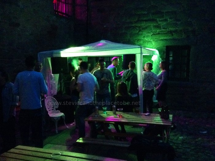 Mains Castle Courtyard Dundee: Stevie C's amazing LED marquee lighting. DJ Ross is in there somewhere, at Roots. Sound by audioWAVE Dundee.