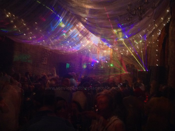 Roots at Mains Castle, Dundee. Wedding/Function Hall by Night: Stevie C providing disco scanners & laser lighting. Sound by audioWAVE Dundee.