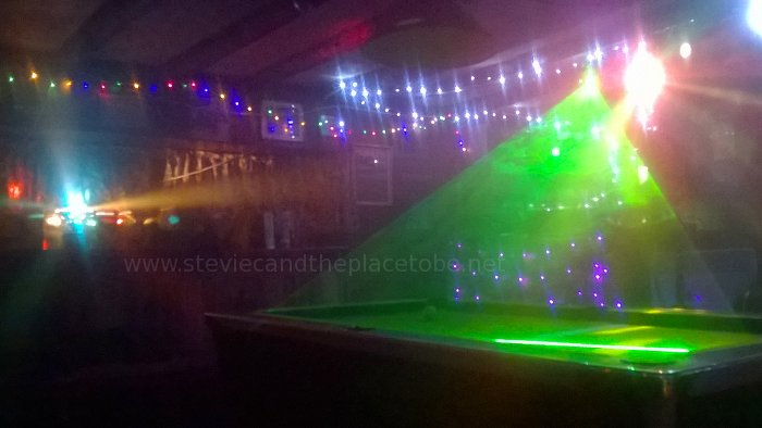 Drumtochty Tavern: The Games Room with a mirror ball, laser, LED mesh lights and UFOrb