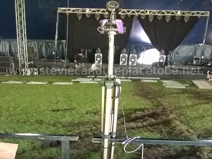 setting up the AV gear supplied by WAR PRO at HebCelt Festival 2015 in Stornoway