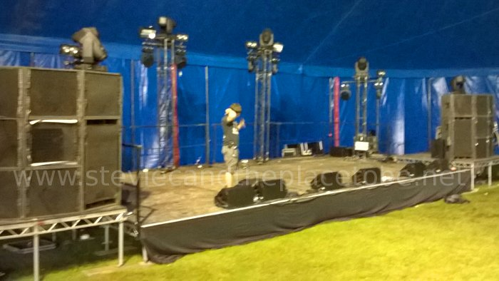 Simon and Stevie C helping set up lighting and PA equipment at HebCelt Fest 2015 in Stornoway, Isle of Lewis with PHG