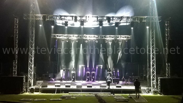 Stevie C helping set up lighting and PA equipment at HebCelt Fest 2015 in Stornoway, Isle of Lewis with PHG