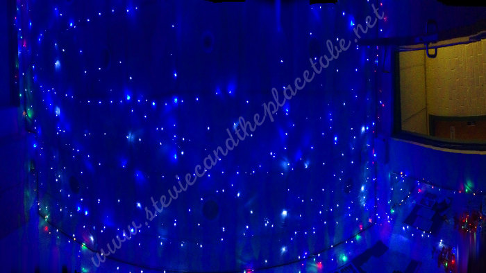 The Webster Memorial Theatre Arbroath Green Room with Stevie C's LED fairy lights for xmas Panorama