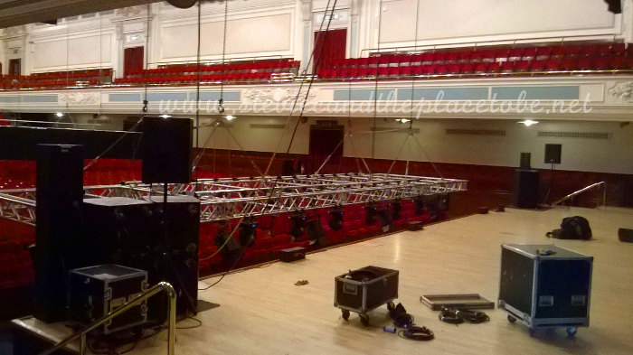 Stevie C crewing for audioWAVE sound hire in Caird Hall Dundee installing D&B speakers for Frankie Boyle