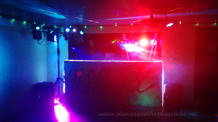 DJ Ross playing at Klozet Dundee with Stevie C's disco lights, scanners, LEDs and fairy light optics.