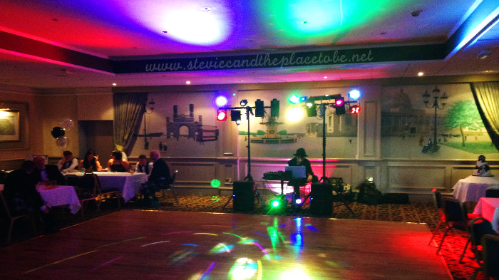 DJ Ross playing a Wedding Reception Disco in The Queens Hotel Dundee function suite, Disco Lighting provided by Stevie C