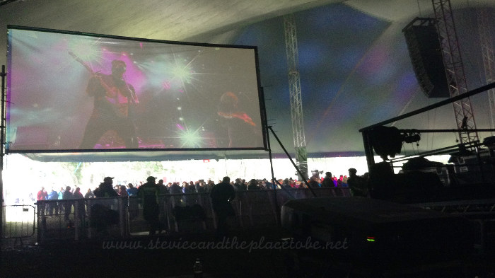 Hebridean Celtic Festival 2016 backstage behind the video screen