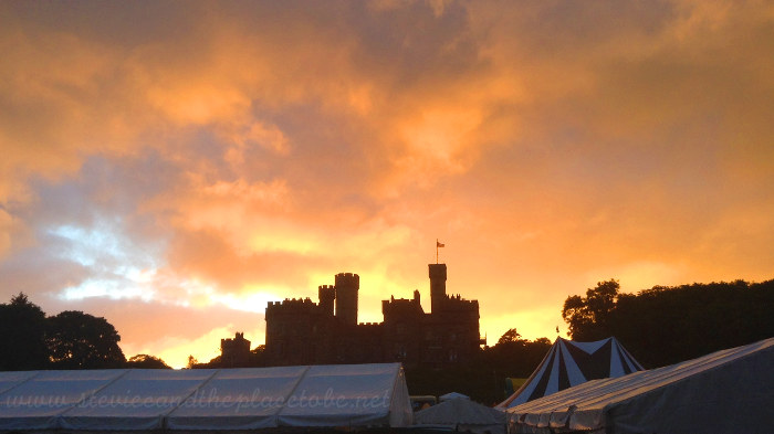 backstage at Heb Celt Fest - Sunset over Big Blue with Lews Castle in the background