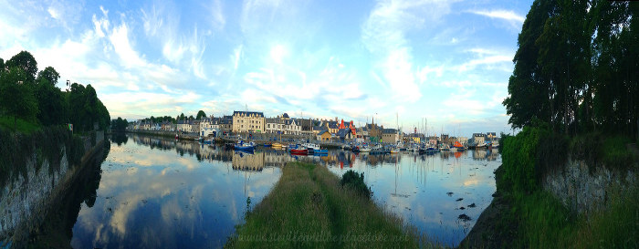 A view of boats in Bayhead Stornoway from the HCF festival site
