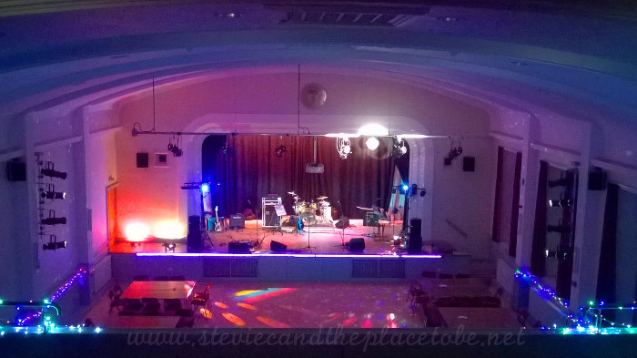 Stevie C Lighting up Angus Solidarity for Refugees with DD8 Music and Miami Vince at Kirriemuir Town Hall. Stage Lighting, disco lights, lasers, LED fairy lights and a mirror ball.