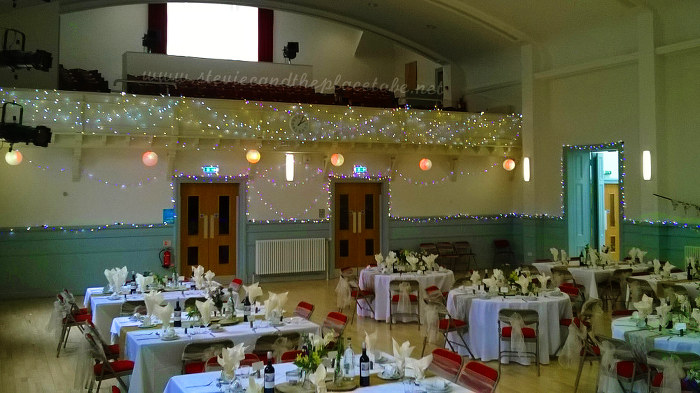 Stevie C Wedding Reception lights at Kirriemuir Town Hall: Chinese paper lanterns, LED fairy lights and hand-painted light bulbs