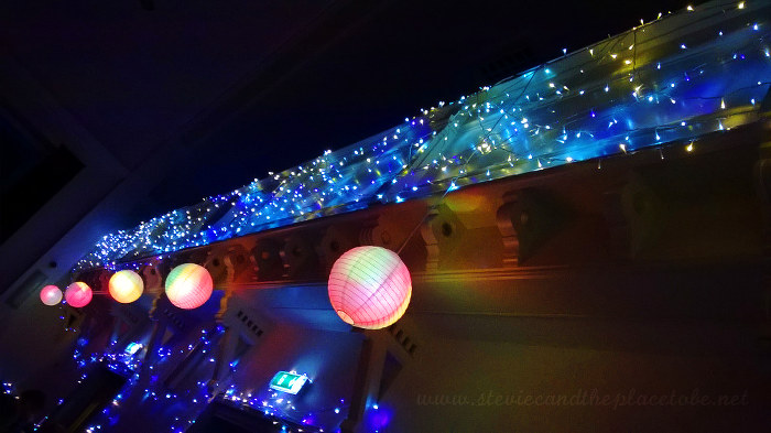 Wedding Reception lights at Kirriemuir Town Hall: Chinese paper lanterns, LED fairy lights and hand-painted light bulbs
