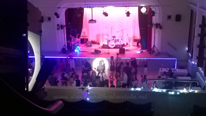Stevie C Wedding Reception lights at Kirriemuir Town Hall: LED tape light, follow-spot lighting a mirror ball, first dance