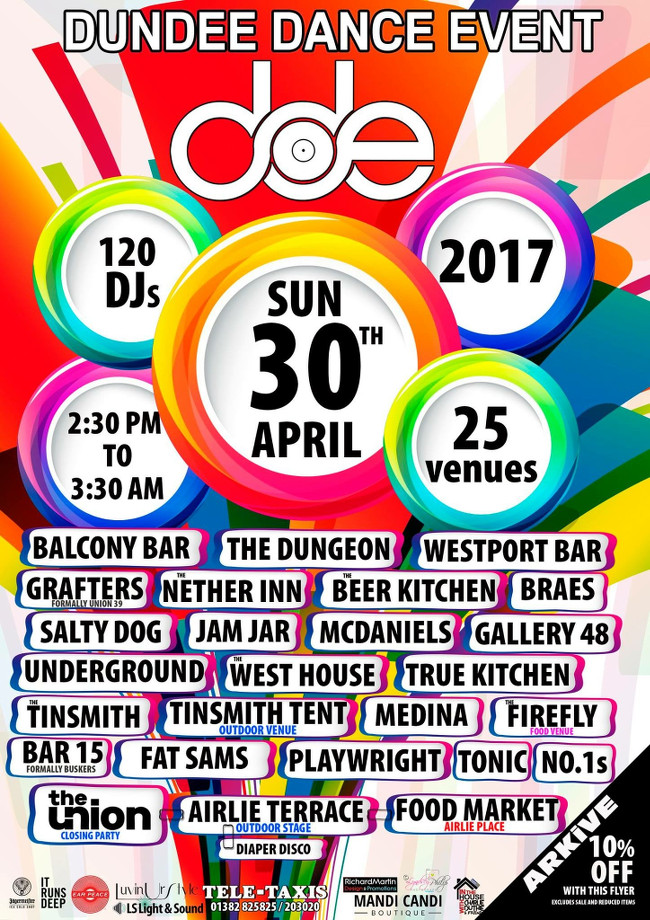 The Salty Dog Dundee presents Dundee Dance Event 2017 Sunday 30th April 2017. 2PM - 3:30AM. Free entry. The Salty Dog, 15 Crichton Street, Dundee DD1 3AP.