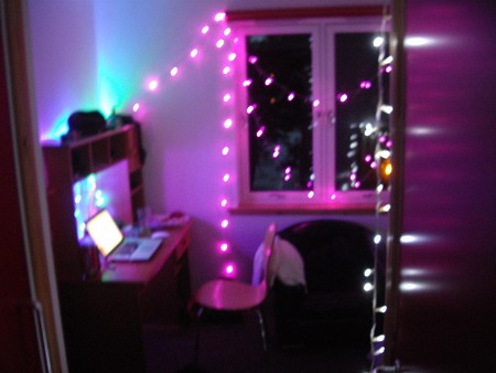 I checked into my dorm room in Stornoway, and spruced it up with some LED fairy lights.
