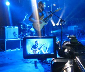Stevie C operating the front-of-stage camera