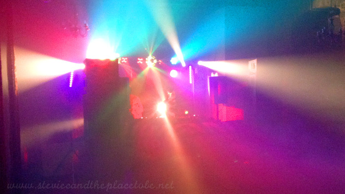 Stevie C lighting a rave at Mains Castle doing lights and sound with audiowave.co.uk for Josh Butler, Mirko Di Florio & Griff.