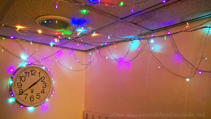 Webster Theatre Arbroath green room decorated with fairy lights