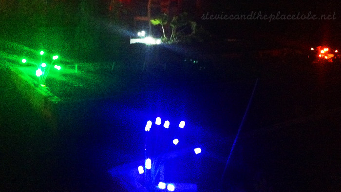 Halloween Party outdoor lighting: custom prototype RGBW LED stem/strand lights powered from USB battery bank