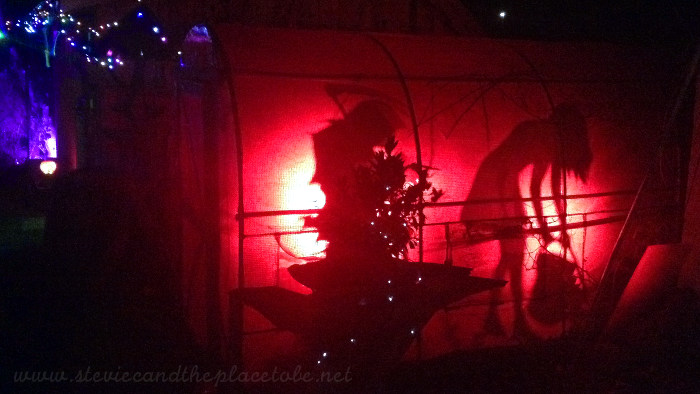 Halloween Party outdoor lighting: Red LED parcans used for spooky silhouette