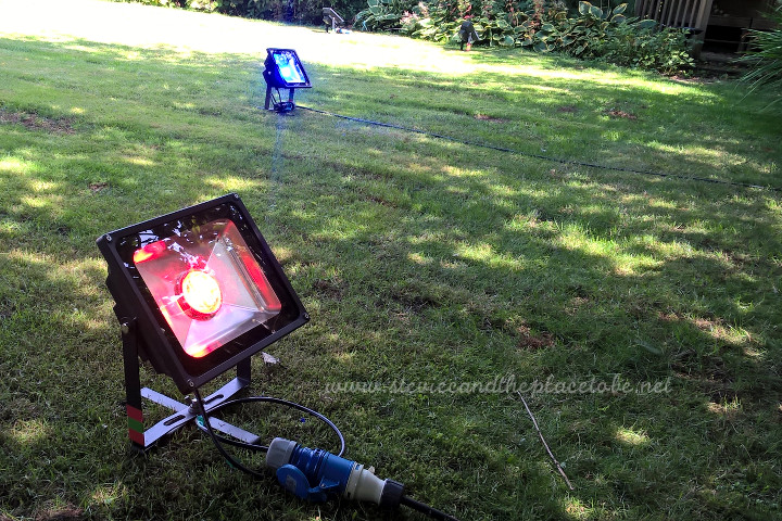 AML Event Hire Dundee supplied and installed coloured LED floodlights for a garden party