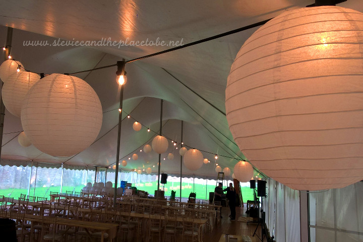 AM Lighting, now AML Event Hire hired and installed festoon lighting with paper lanterns for a wedding in a marquee