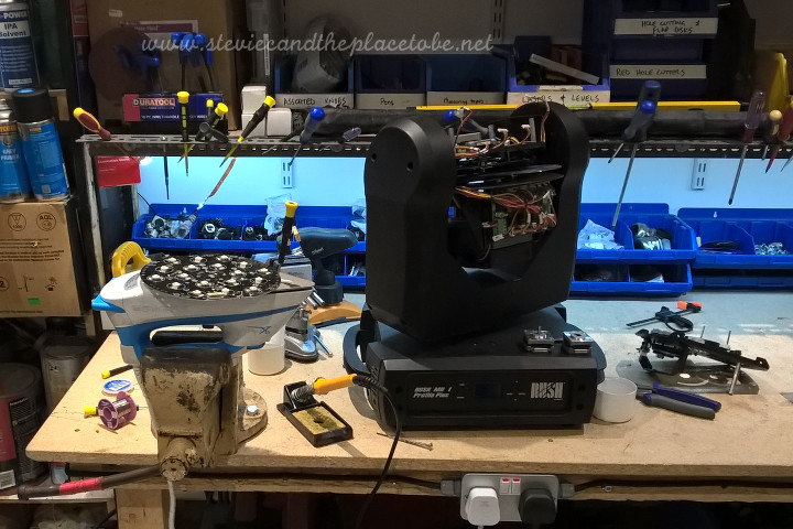 Repairing a moving head intelligent light, as well as an RGBW PCB for an LED PAR can - by first heating the pcb with an iron