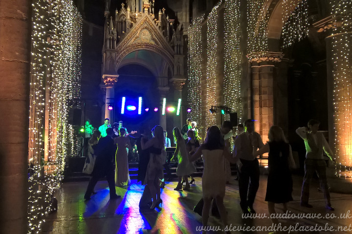 audioWave Sound Hire provided PA and Lighting for a Wedding Band and Disco function at Mansfield Traquair in Edinburgh - a beautiful church converted into an event venue
