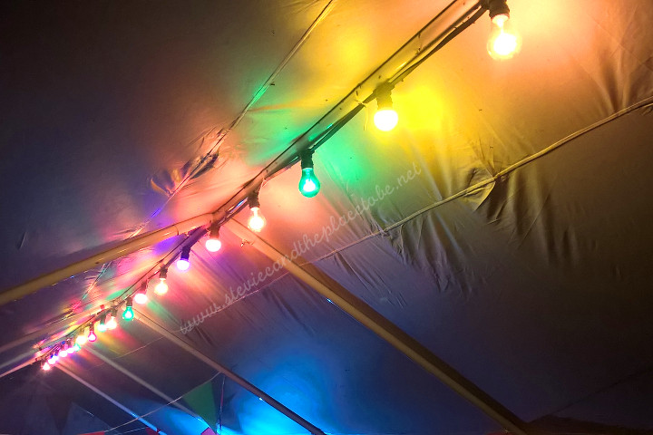 audiowave supplied a complete package for a secret garden party/rave: festoon harnesses for the bar and food tents